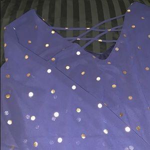 torrid Tops - Torrid navy chiffon with gold foil dots